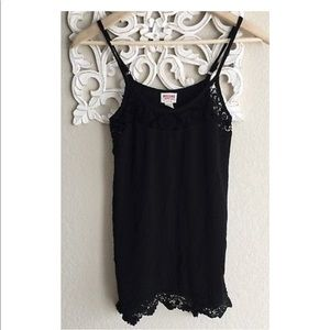 Black Lace Tank Top Asymmetric Mossimo XS